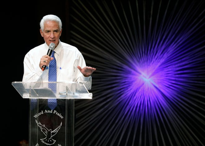 U.S. Rep. Charlie Crist speaks during a Get Out the Vaccine roundtable at the Word and Praise Family Church in Daytona Beach, Thursday, August 26, 2021.