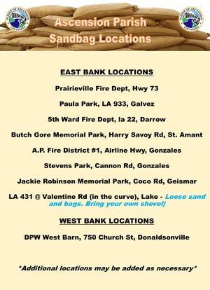 Ascension Parish announces sandbag locations.
