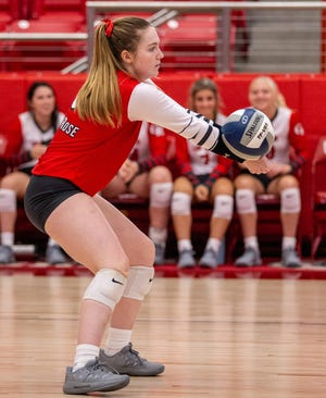 Glen Rose libero Cam Hinton, seen here passing the ball against West, was named to the Glen Rose Tournament All-Tournament team over the weekend.