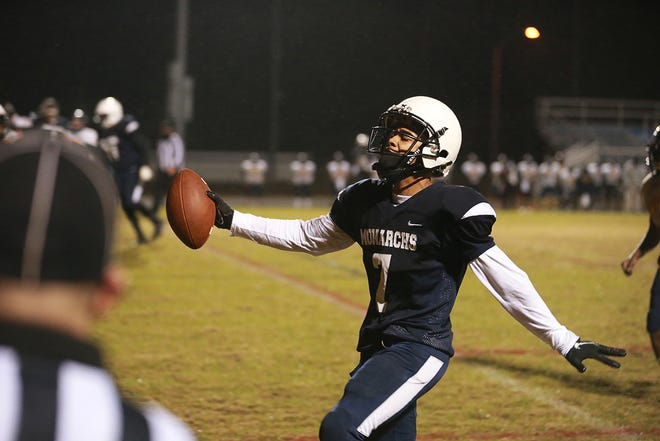 Northside' Eric Howell scores a touchdown in a game last winter season against Goldsboro. The senior hopes his hard work over the last year helps him earn college scholarship offers.