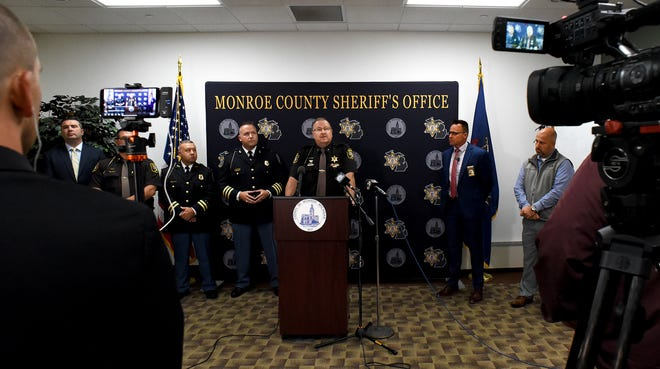 """Monroe County Sheriff Troy Goodnough leads the press conference Thursday with other members of law enforcement about a new crime task force team called """"VIPER,"""" or Violent Internet and Predator Exploitation Response team. The conference was held at the Monroe County Emergency Management office."""