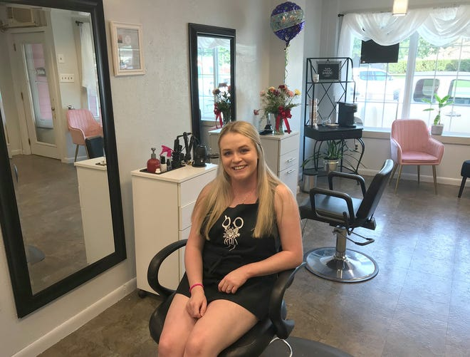 Thee Beauty Lounge owner Megan Winters poses Aug. 25 in her new salon, located at 112 North Main St. in Oneida and open Tuesday through Saturday by appointment only.