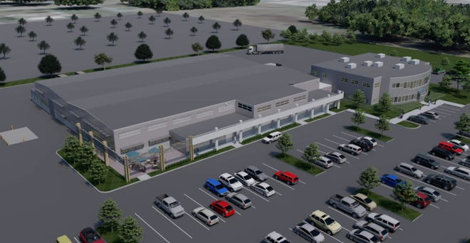 This rendering shows the planned new look for the building at 30 New Hampshire Ave. at the Pease International Tradeport, which the Kane Company is renovating as the new home for Aclara, a global supplier of smart infrastructure technologies to electric, water and gas utilities.