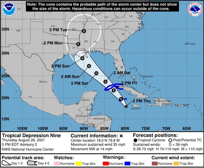 5 p.m. update on Tropical Depression Nine, which is expected to become Hurricane Ida in the Gulf of Mexico.