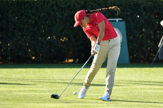 Morgan Rodriguez of Delray Beach hits a tee shot during the Drive, Chip & Putt national finals last April in Augusta, Georgia.