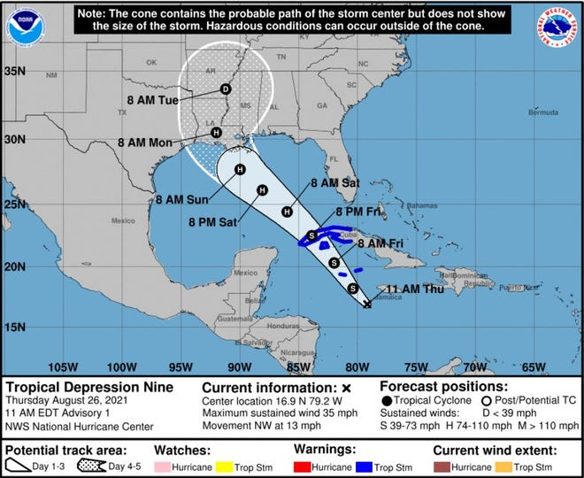 Tropical Depression Nine expected to become hurricane in the Gulf of Mexico.