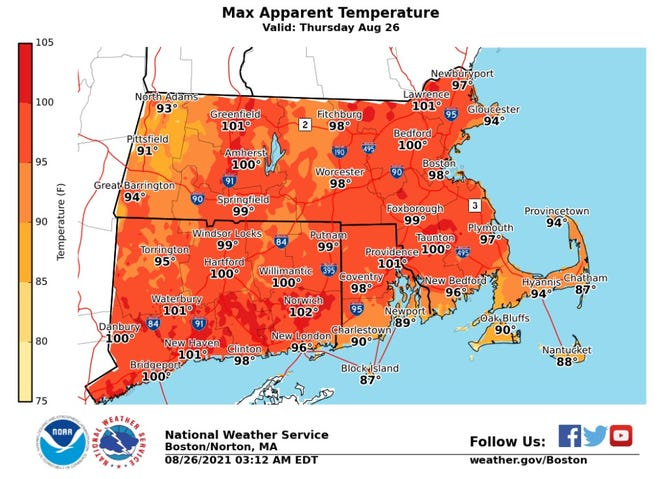 This National Weather Service graphic shows the  forecast maximum heat index, a combination of temperature and humidity, for Thursday.