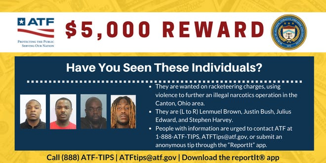 Reward money available: Federal, state and local authorities are looking for these men.