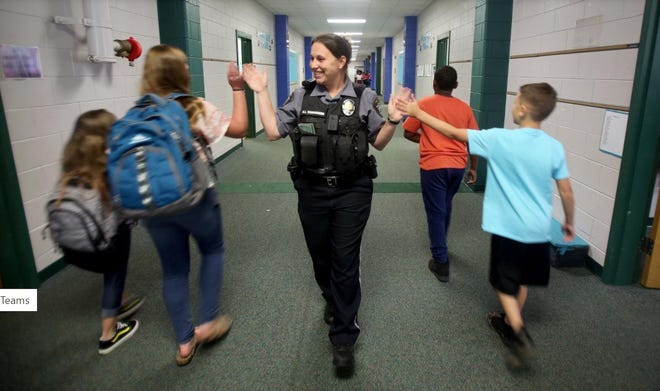 School resources officer Hannah Yarborough is seen in the halls of Kings Mountain Intermediate School in this 2019 photo.