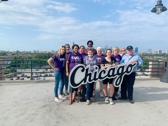 Kewanee Americorps workers attended a White Sox Game to celebrate the successes of 2021. In the photo are AmeriCorps members, staff, LVI Executive Director Dorothy Miaso and board member John McLeod.