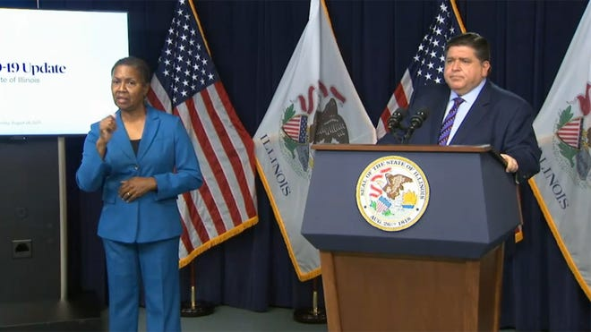Gov. JB Pritzker speaks during a news conference Thursday morning in Chicago during which he announced a statewide indoor mask mandate effective Monday.(Credit: blueroomstream.com)