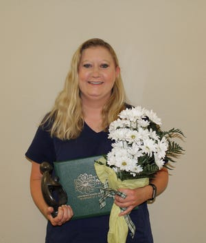 Katy Loibl, recipient of Hammond-Henry Hospitals annual DAISY award for outstanding nursing.