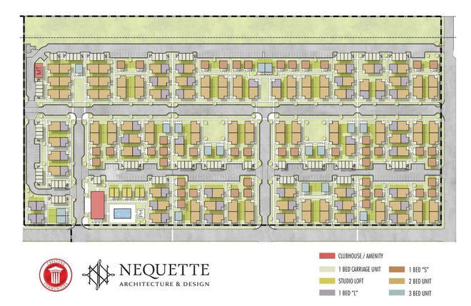A site plan of The Cottages at Riverlights, a neighborhood of 279 cottage-style rentals currently under construction in the Riverlights community.