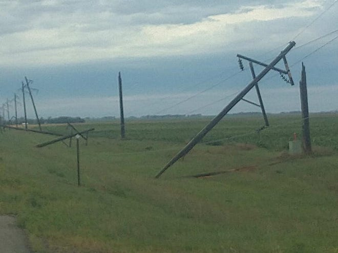 Power lines were downed when a thunderstorm rolled through the Doland area Thursday morning.