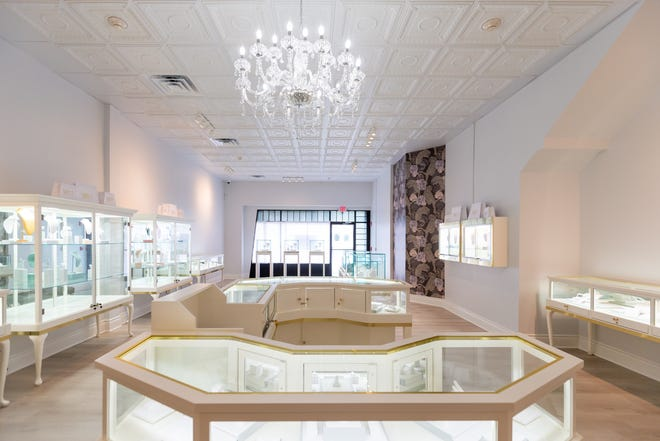 Jewelry cases spread throughout MB Addis & Co. Legacy Jewelers are placed in an open manner to enhance the jewelry buying experience, said owner Michele Billam.