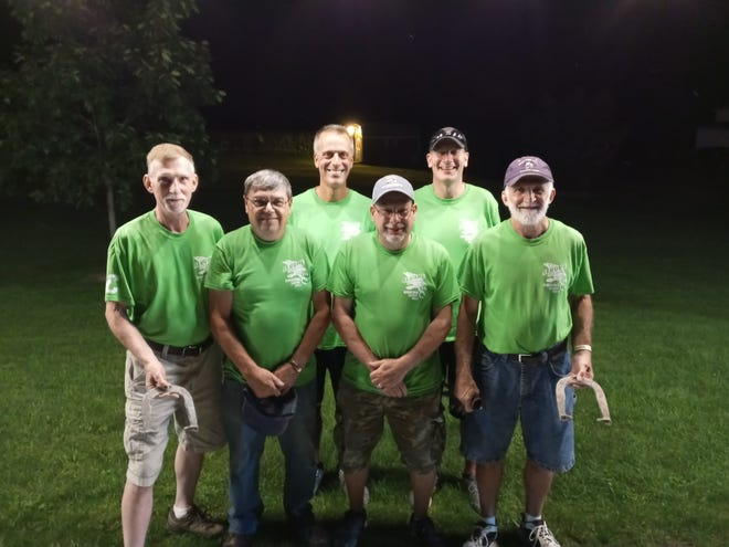 Members of Team Litterine are the 2021 Jerome Polish Falcons Summer Horseshoe League season champions. Team Litterine defeated Team Yoder six games to four on Aug. 24. Team members are, from left to right: captain Dave Litterine, Adrian Yoder, Steve Mosorjak, Brian Rouser, Brian Byer and Gary Soha.