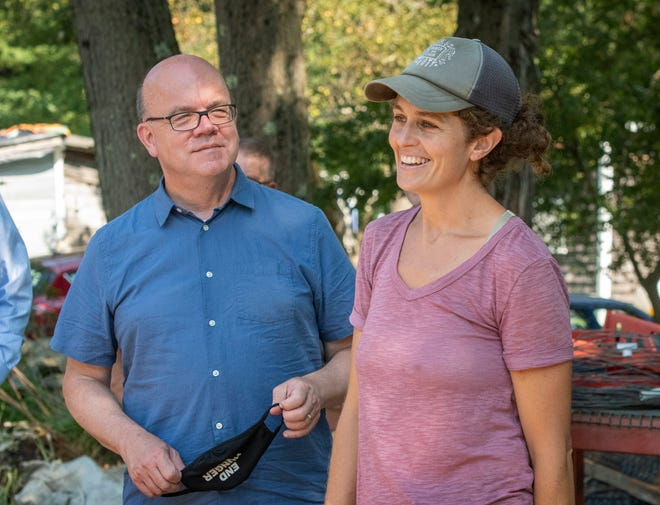 U.S. Rep. James P. McGovern listens as farmer Amanda Barker speaks about the challenges of farming as she gives a tour of Cotyledon Farm in Leicester on Thursday.