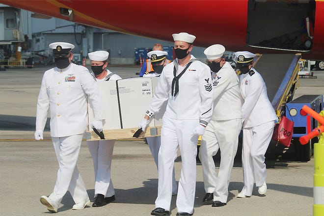 Full honors were accorded when the body of Navy Fireman 2nd Class Ralph Curtis Battles was returned to Alabama, landing Tuesday at Birmingham-Shuttlesworth International Airport. Battles died Dec. 7, 1941, in the attack on Pearl Harbor. His remains were identified this year and his funeral will be Saturday at Hillcrest Cemetery in Boaz.