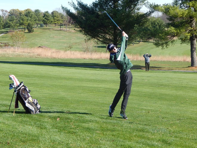 South Hagerstown senior Joey Leisinger, shown playing in the Washington County golf tournament last year, tied for second with an even-par 72 in Monday's Maryland District 1 4A-3A tournament at Black Rock, easily qualifying for the state tournament in late October.