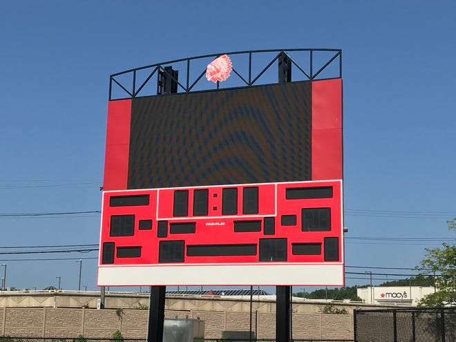 One impressive feature at the Saugus Middle-High School Christie Serino Jr. Athletic Sports Complex is the digital video scoreboard.