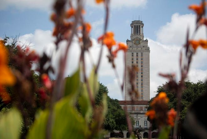 The University of Texas at Austin tower on July 16, 2020.