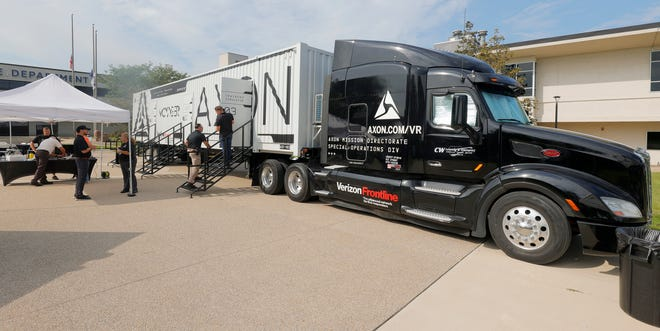 A large semi truck with virtual reality rooms was parked at the Taylor Police Department during the 2021 Axon Roadshow made a stop at the Taylor Police Department in Taylor, Michigan on Thursday, August 26, 2021.