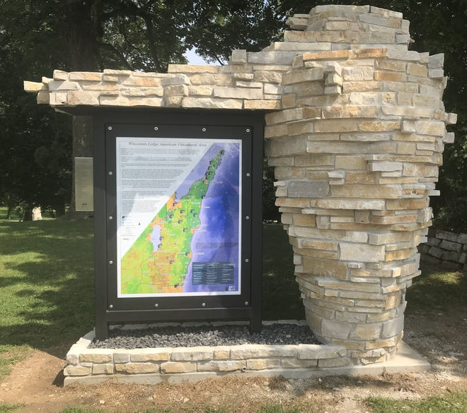 A monument describing the Wisconsin Ledge American Viticultural Area (AVA) was recently built in Way-Morr Park near Wayside in southern Brown County.