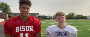 Great Falls High QB Reed Harris (left), and WR Cale Gundlach are two leaders for the Bison football squad for the 2021 season.