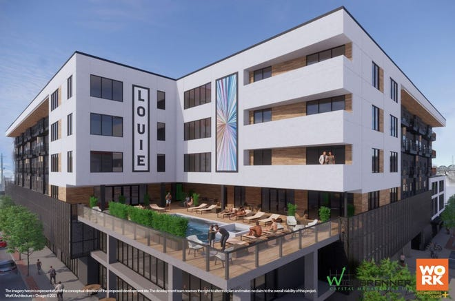 A rendering of the proposed apartment and retail complex at 835 E. Main Street in Louisville's Butchertown neighborhood.