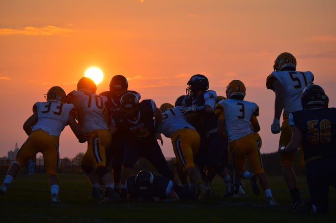 River Valley and Buckeye Valley football players compete under the setting sun. Stay up to date on the area's high school sports scene by subscribing to the Marion Star's Beyond the Scores newsletter.