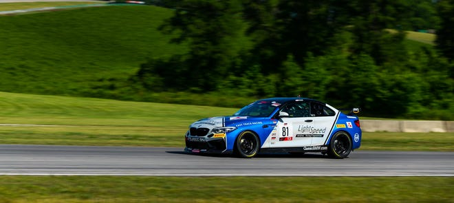 Jacob Ruud drives a BMW M2 in SRO America TCX competition at Virginia International Raceway on the weekend of June 4-6, 2021.