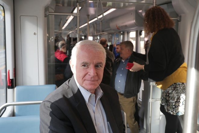 Milwaukee Mayor Tom Barrett looks out the window during a test ride of The Hop in October 2018.
