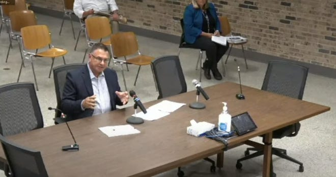 Edward Holpfer was selected to replace Mark Dandrea as Franklin's District 1 alderman by the Franklin common council during a special meeting Aug. 25. In this screenshot from the streamed meeting, Holpfer presents his case to the council. Four other residents were interested in the position and also presented.