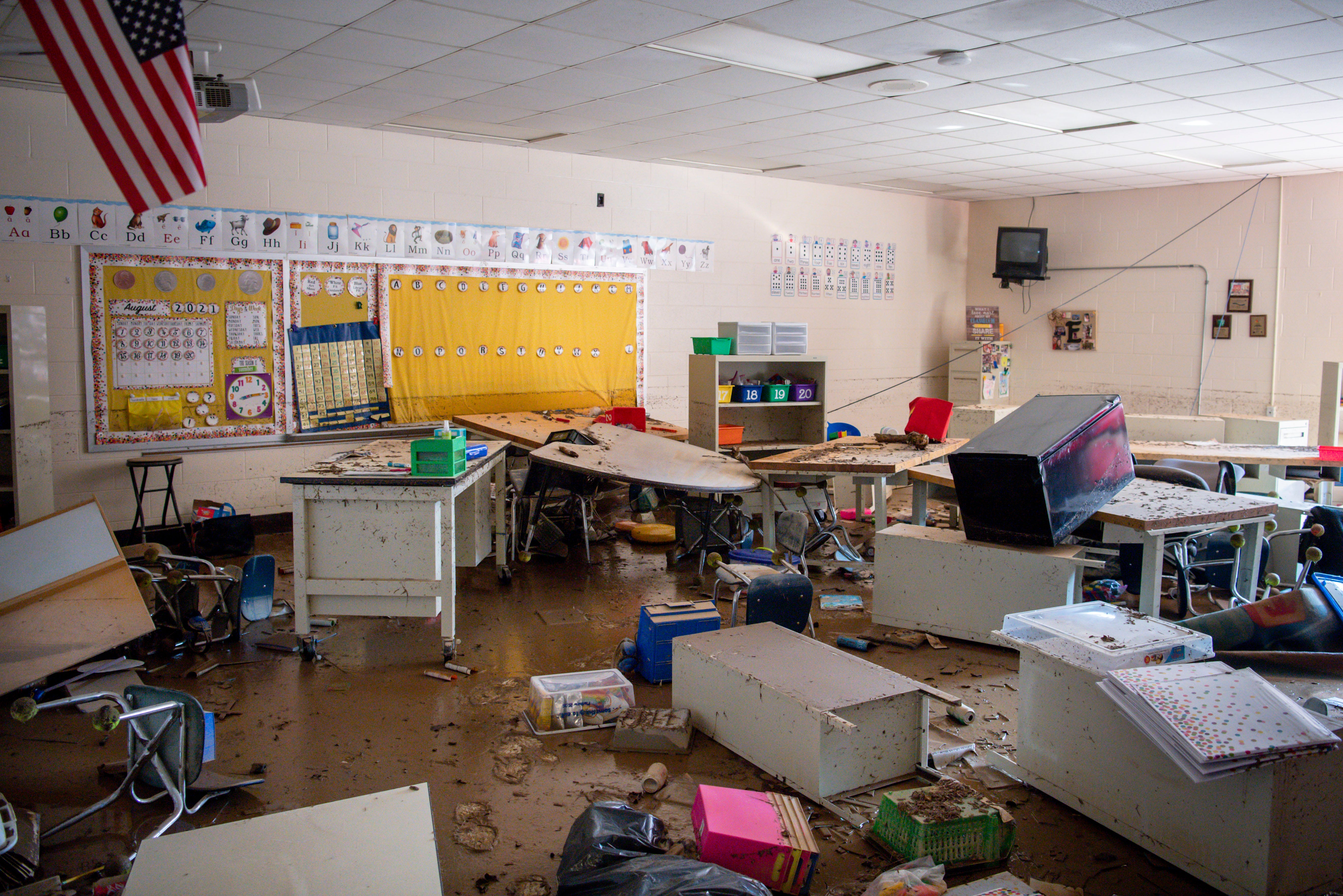 Inside a flood damaged Waverly Elementary School classroom as seen on Wednesday, Aug. 25, 2021, after flash flooding swept through the town of Waverly, Tenn.