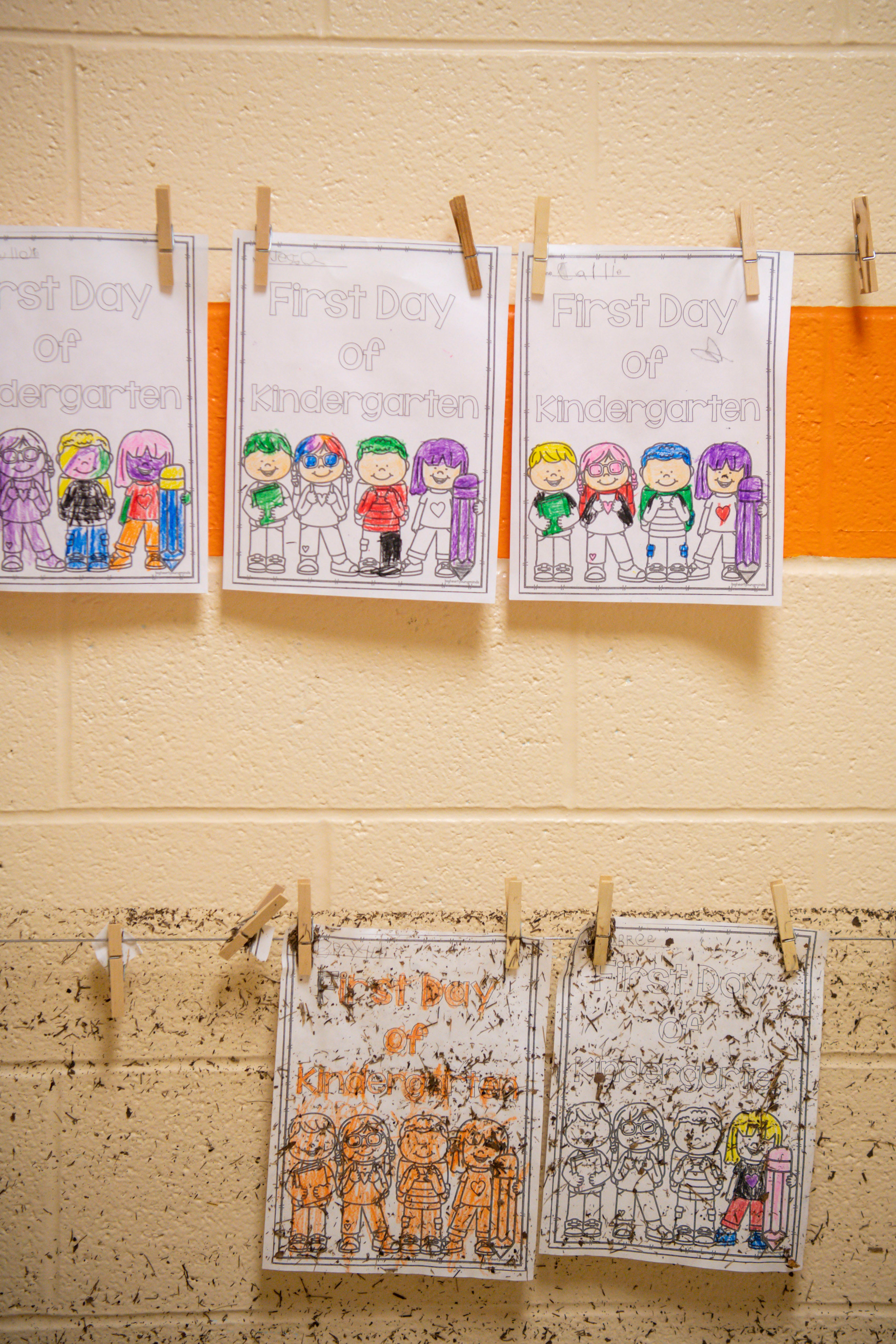 The water line of the flooding is seen in the hallway of the flood damaged Waverly Elementary School as seen on Wednesday, Aug. 25, 2021, after flash flooding swept through the town of Waverly, Tenn.