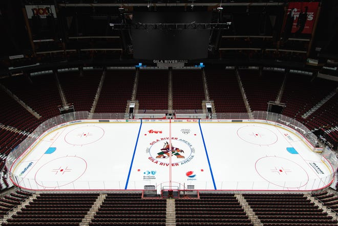 GLENDALE, AZ - AUGUST 25: Ice Installation at Gila River Arena on August 25, 2021 in Glendale, Arizona. (Photo by Kelsey Grant/Arizona Coyotes)