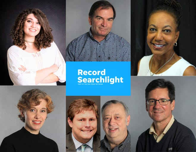 The Record Searchlight reporting staff as seen clockwise from top left: Nada Atieh, Damon Arthur, Michele Chandler, David Benda, Mike Chapman, Ethan Hanson and Jessica Skropanic.