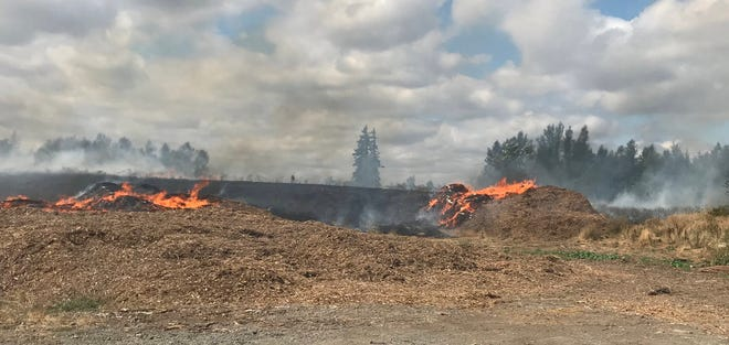 A grass fire has closed the North Marion transfer station near Woodburn on Thursday, August 26, 2021.