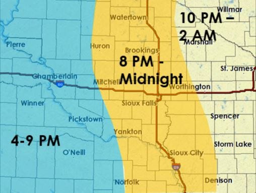 The timing of the severe weather in eastern South Dakota on Thursday night and Friday morning.