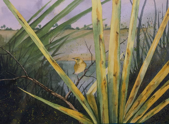 """One of Phillip Pollock's recent paintings, """"Pine Warbler in Palmettos,"""" was chosen to be part of the 2021 Brush Strokes Tallahassee Watercolor Society Members Exhibition."""
