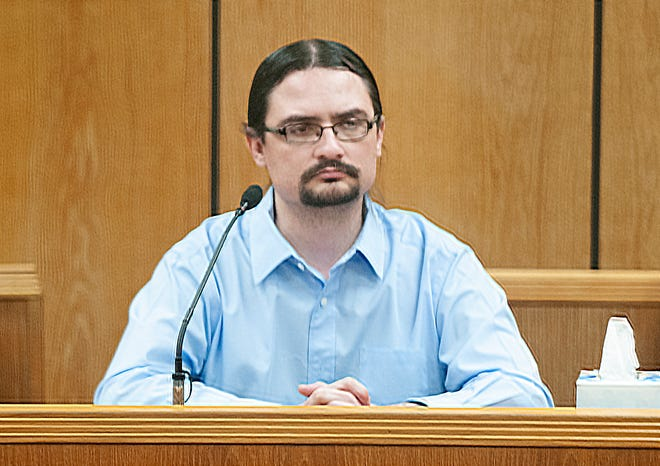 Micky Dawn Wade testifies in his own defense Thursday, Aug. 26, 2021, in his child sexual assault trial in 89th District Court.