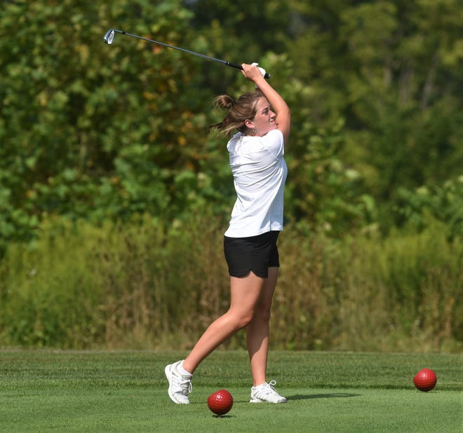 John Glenn's Gracie Milam drives on the second hole in a dual match with Lakewood on Thursday at Harbor Hills.