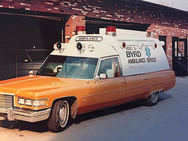 A 1976-built ambulance outside Byrd Ambulance Service's Zanesville facility in an undated Byrd family picture.