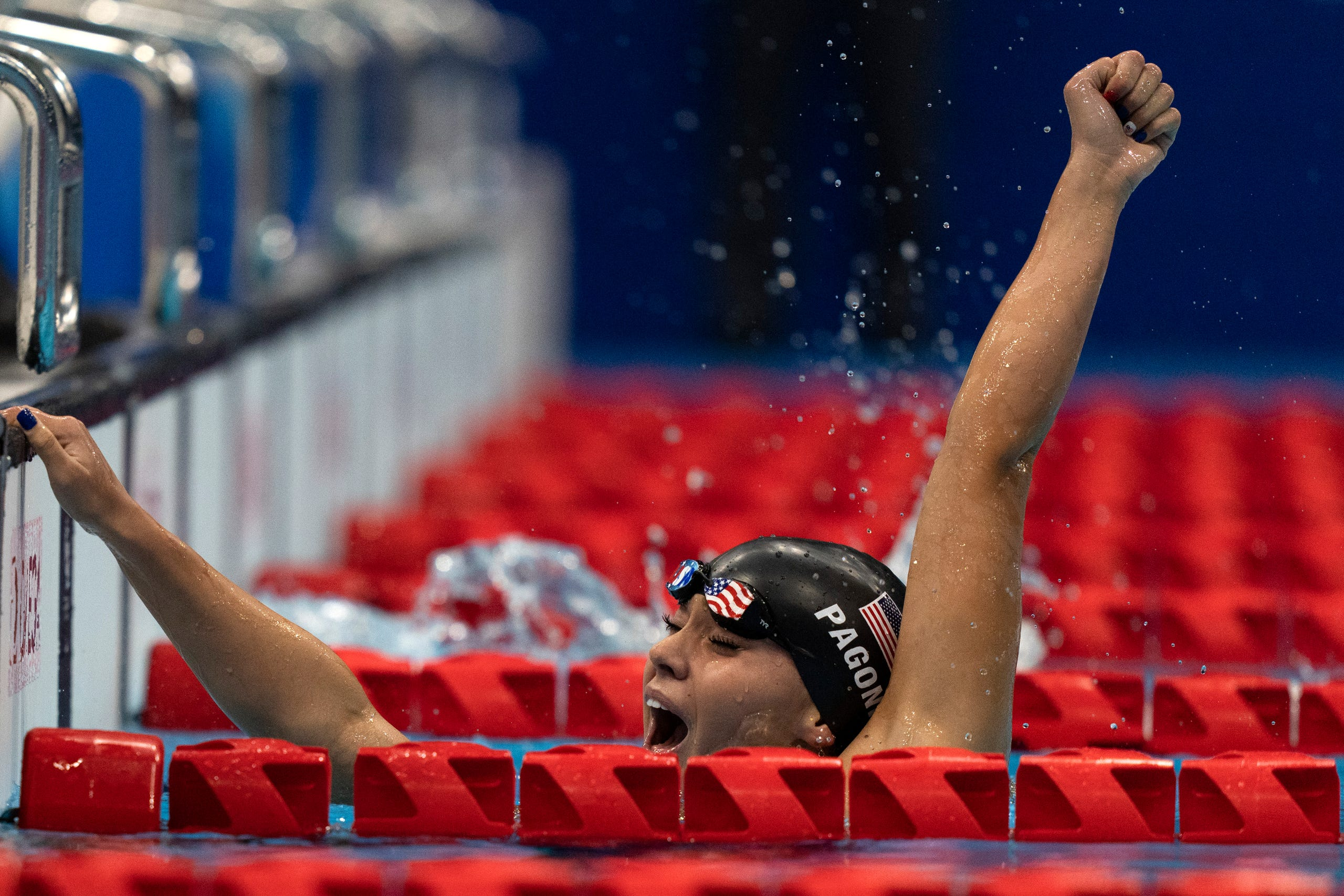 August 26, 2021:  Anastasia Agonis, from USA, celebrates after winning Women's 400m Freestyle - S11 Final at the Tokyo Aquatics Centre during the Tokyo 2020 Paralympic Games, in Tokyo, Japan.