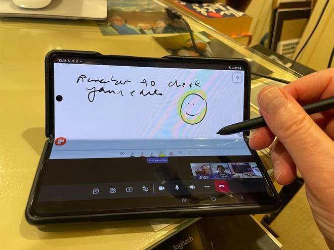 Ok, so the notes aren't high-level, but you see you can fold the Samsung Galaxy Z Fold3 5G ($1,799.99, available now) and attend a video meeting and take notes at the same time.