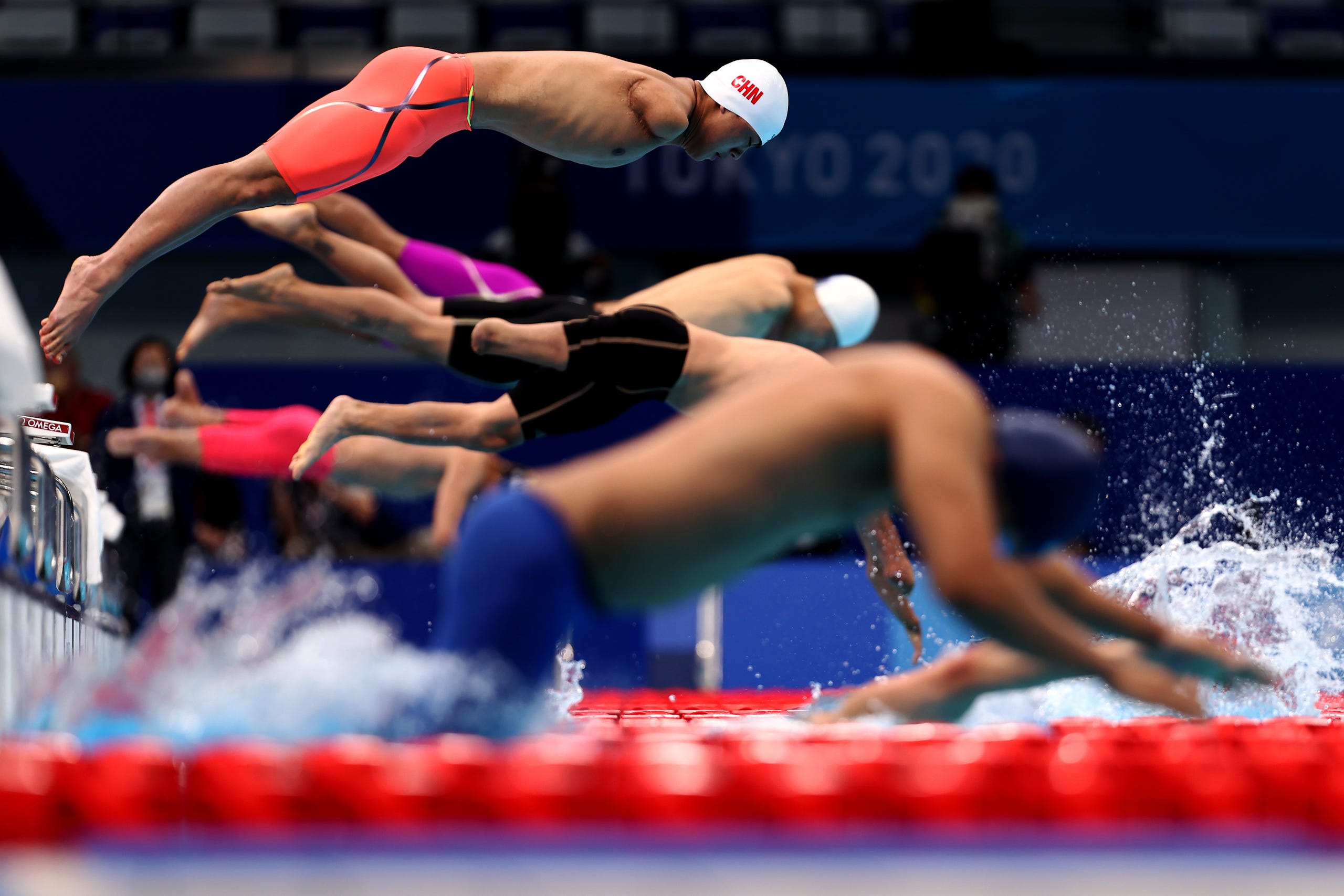 August 26, 2021: Yuan Weiyi of Team China competes in the Men's 100m Freestyle - S5 final on day 2 of the Tokyo 2020 Paralympic Games at the Tokyo Aquatics Centre in Tokyo, Japan.