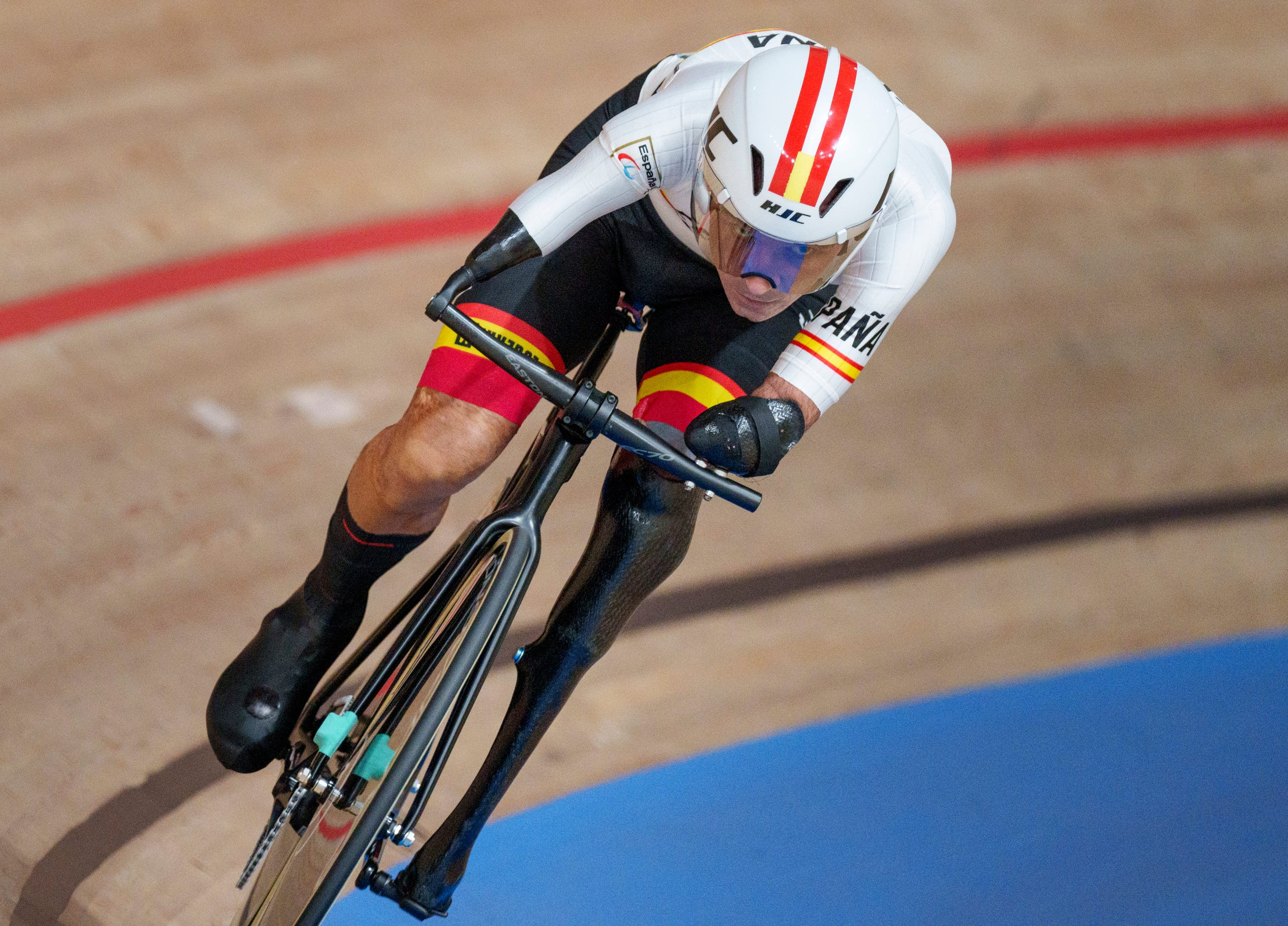 August 26, 2021:  Spain's Ricardo Ten Argiles competes in the Track Cycling Men's C4 1000m Time Trial during the Tokyo 2020 Paralympic Games in Izu, Japan.