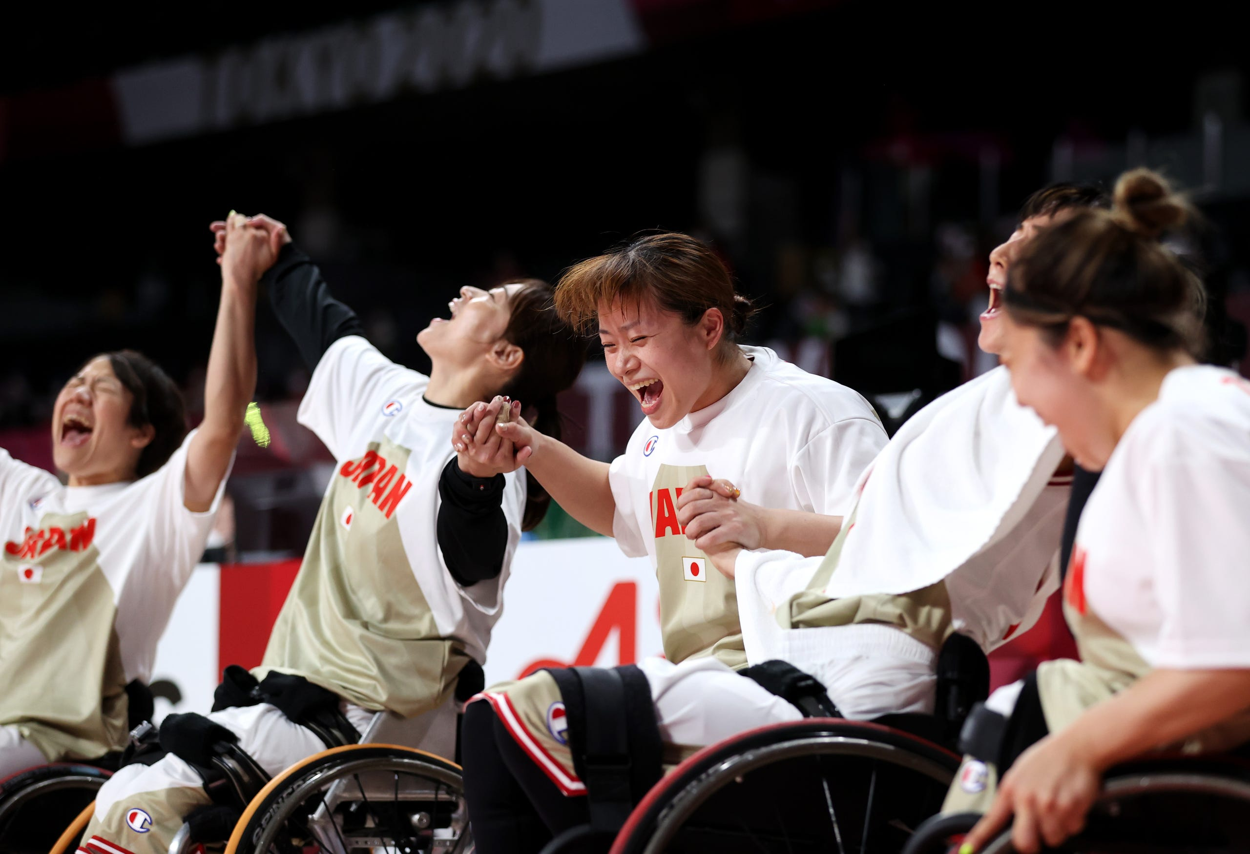 August 26, 2021: Team Japan celebrate victory during the Wheelchair Basketball Women's preliminary round group A match between team Japan and team Great Britain at Musashino Forest Sports Plaza on day 2 of the Tokyo 2020 Paralympic Games  in Chofu, Tokyo, Japan.