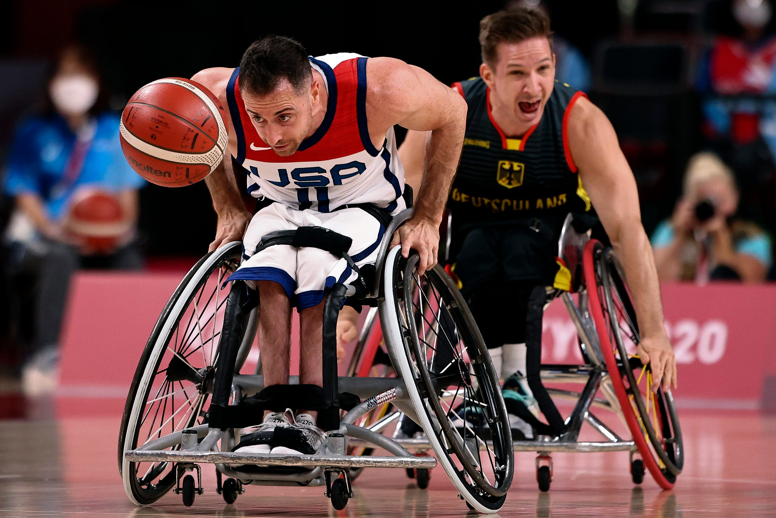 August 26, 2021: Steve Serio of Team USA controls the ball during the Men's Preliminary Round Group B match between Team United States and Team Germany on day 2 of the Tokyo 2020 Paralympic Games at Ariake Arena in Tokyo, Japan.