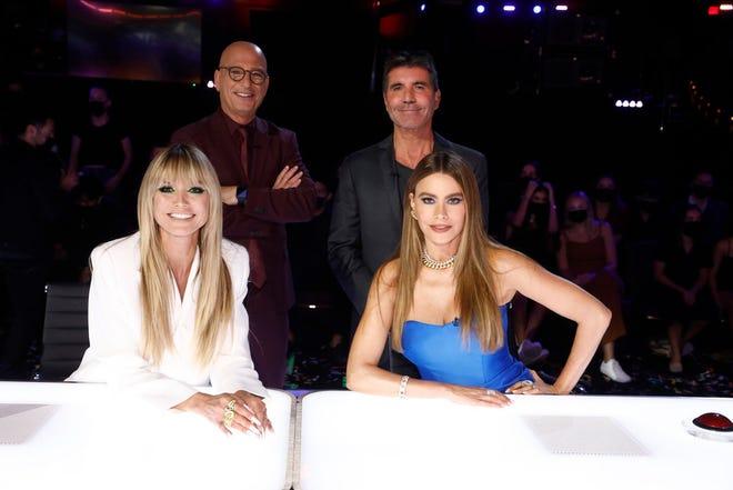 """America's Got Talent"" judges: (l-r) Heidi Klum, Howie Mandel, Simon Cowell, Sofia Vergara -- (Photo by: Trae Patton/NBC)"